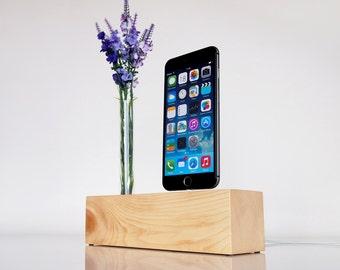 Wooden iPhone Dock + Vase Holder, modern minimalistic design, unique present for mother, daughter, girlfriend...