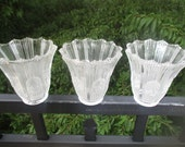 Three Vintage Clear Pressed Frosted Glass Art Deco Sconce Shades
