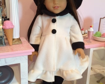 18 inch doll Winter Coat and Matching Hat