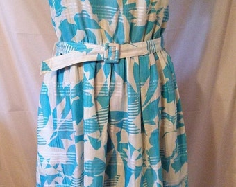 """LABOR DAY SALE Nice 80s Does 50s Vintage Day Dress-Hand Screened Thai Print-44"""" Bust-Medium-Size 12-Fit & Flare-Cruise Resort Bridal Party"""