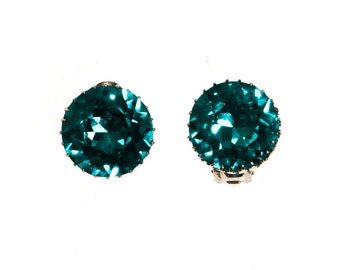 Aqua Blue Rhinestone Earrings, Headlight Rhinestones, Clip On, Made in Austria, 1950s