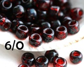 Picasso TOHO Seed beads, size 6/0, Transparent Siam Ruby, Y316, red seed beads, hybrid, rocailles - 6g - S760