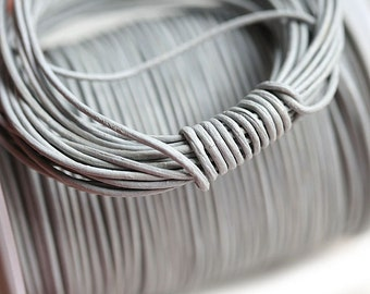 1mm Round Natural Leather cord - Light Grey - 10 feet, LC027