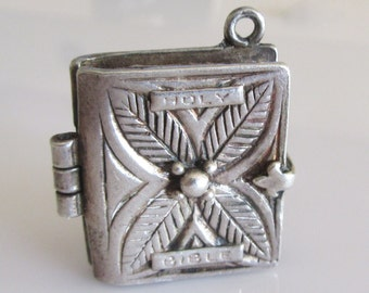 Large Silver Bible and the Lords Prayer Charm or Pendant
