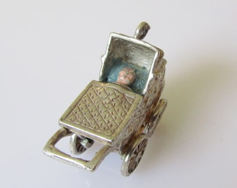 Large Silver Pram and Baby Enamel Moving Charm