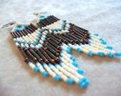 Long lovely seed bead fringe earrings statement earrings colorful earrings boho earrings handmade earrings bead fringe earrings blue earring