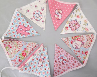Name nursery bunting christening floral naming first second third fourth fifth birthday party decoration