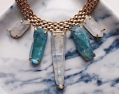 Aqua & Opal Aura Quartz Collar Necklace - Brass