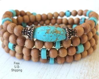108 Mala Aromatic Sandalwood, Turquoise, Mala prayer Necklace or bracelet, Reiki, sandalwood mala, mala, prayer beads, buddhist rosary, wrap
