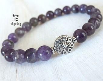 Amethyst, Mala bracelet, yoga bracelet, Amethyst bracelet, bracelet, Energy bracelet, healing bracelet, mala beads, energy bracelet, calming