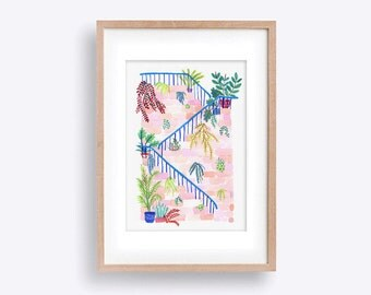 Hanging Gardens A4 Wall Art Print -  Playful Painted Illustration featuring Dubrovnik Stairs with Cascading Foliage