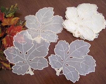 12 Vintage Leaf Cocktail Napkins, Madeira Embroidered Organdy Linen, Pastel Gold