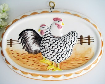 Vintage Wall Hanging Ceramic Jello Mold, Rooster Chicken Kitchenware, Towle Gailstyn-Sutton