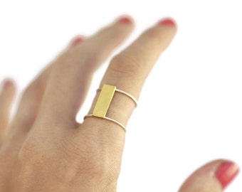 Brass bar ring - silver and brass ring - geometrical ring - tribal ring