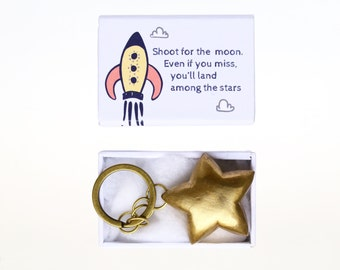 Brass star keychain -  shoot for the moon charm - Inspiration keyring