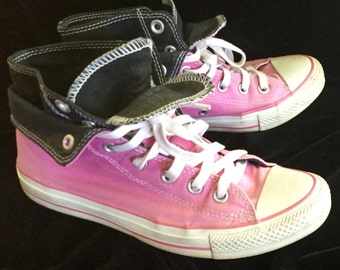 Pink Black Fold down Converse High Tops Chuck Taylor's Ladies Size 8
