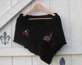 black shawl, black shrug, black coverlet bolero, black shawl, Holiday sweater