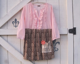 Bohemian tunic L rustic tunic romantic rustic, blush brown chic dress upcycled Shaby Vintage