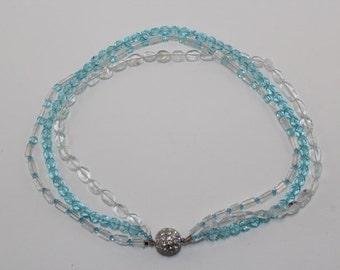 Aquamarine triple strand necklace