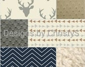 Baby Boy Crib Bedding - Silver Gray Buck, Navy Chevron, Tan Gray Arrows, and Ivory Crushed Minky Crib Baby Bedding Ensemble