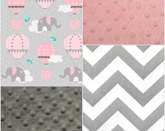 Baby Girl Crib Bedding - Elephants and Hot Air Balloons, Gray Chevron, Blush Minky, and Gray Minky Crib Bedding Ensemble