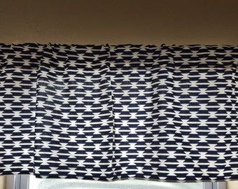 Curtain Panels or Valance - Navy Tomahawk, Western, Tribal, Aztec