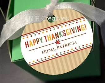 Personalized Happy Thanksgiving Favor Tag - Dots - DIY Printable Digital File