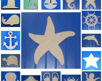"""Nautical - Wooden Shapes - 6"""" Size - Unpainted - Wall Hanging Decor - Kids Crafts - DIY Project - Beach - Ocean - Sea - Sailing"""