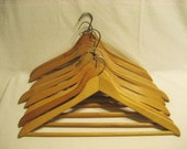 Set of 8 Wooden Hangers Vintage 1960s Closet Organization Wood Clothes Hangers Jacket and Pants