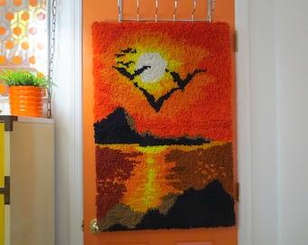 Vintage 1970s Retro Groovy Sunset Orange Seagulls Latch Hook Rug Wall Art Hanging