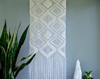 "Sale 20% Off Macrame Wall Hanging - Natural White Cotton Rope on 24"" Wooden Dowel - Geometric Diamond Pattern - READY TO SHIP"