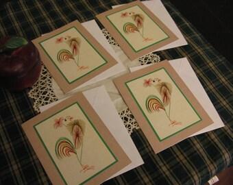 Primitive Rooster Card Set