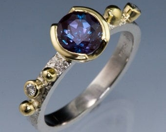 Chatham Alexandrite 18k Yellow Gold Semi-Bezel Engagement Ring, Conflict Free Diamonds, Gold Accents, Hammer Textured Ring Band Palladium