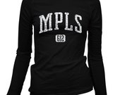 Women's Minneapolis 612 Long Sleeve Tee - S M L XL 2x - Ladies' Minneapolis T-shirt, Minnesota, Twin Cities, MPLS - 4 Colors