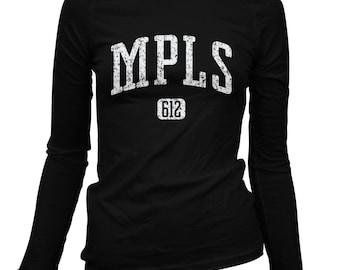 Women's Minneapolis 612 Long Sleeve Tee - S M L XL 2x - Ladies' Minneapolis T-shirt, Minnesota, Twin Cities, MPLS - 4 Colors