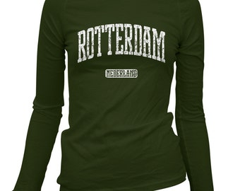 Women's Rotterdam Netherlands Long Sleeve Tee - S M L XL 2x - Ladies' Rotterdam T-shirt, Dutch, Holland - 4 Colors