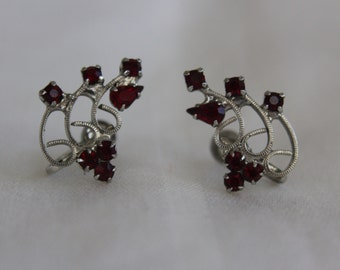 Red Rhinestone Earrings Delicate Swirls