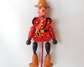 vintage Canadian mountie jumping jack toy, wooden toy, Niagara on the Lake Canada souvenir, nursery decor, home decor