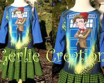 Clearance Sale Girls DR WHO, Girls Dress, Eleventh Doctor, Dr Who, Eleventh Doctor Dress, 11th Doctor - Last One Size 7 Ready to Ship