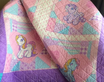 """My Little Pony and Pastels, All Together In This 44"""" X 44"""" Quilt For Girls"""