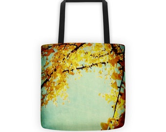 IN STOCK Golden Leaves Gingko Branches Tote for Eco Shopping and School and Sundry