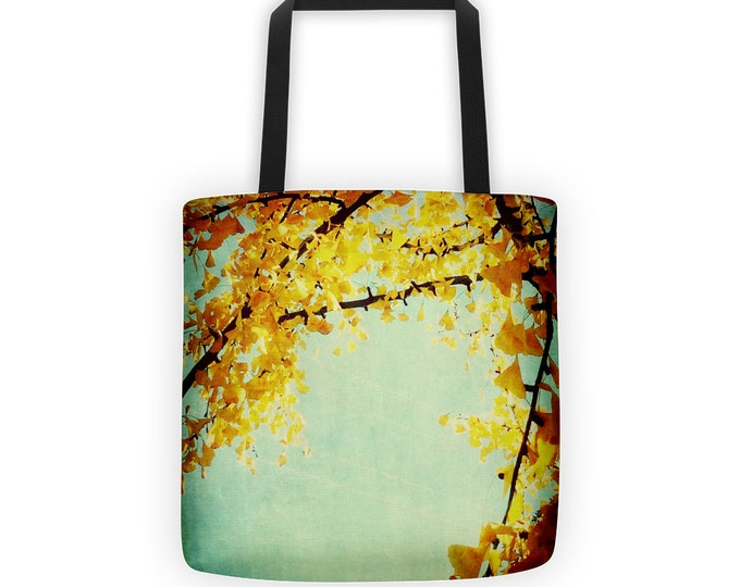 Golden Leaves Gingko Branches Tote for Eco Shopping and School and Sundry