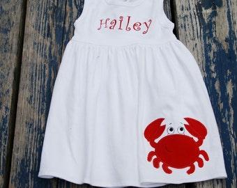 Crab , applique Spring, Summer, Cotton Monag sleeveless Dress Personlized