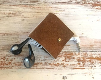Leather earbud holder, earphone cord organizer