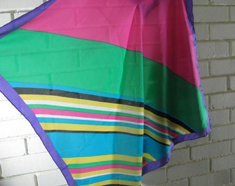 Vtg Lg square color block silk scarf