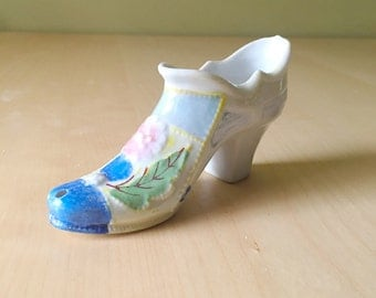 Vintage Porcelain Victorian Shoe/ Boot Vase Handpainted, Cottage Style, Romantic French Country