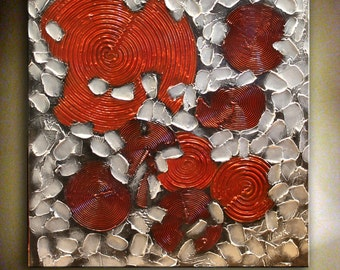 Abstract Metallic Painting Modern Red Silver Artwork Heavy Textured Painting Silver Large Artwork Wall Art Decor Ready to Ship by Nata S.