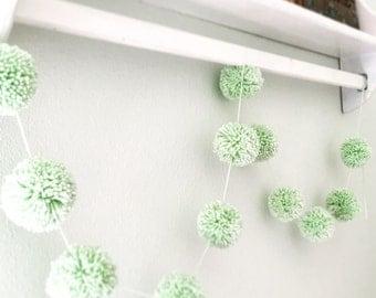 Mint Green Pom Pom Yarn Garland Birthday Yarn Pom Pom Garland  Baby Bridal Shower Garland Birthday Wedding Home Decoration