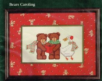 Dale Burdett 1985 Cross Stitch Wall Hanging Kit Bears Caroling
