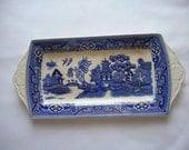 Willow pattern sandwich plate  approximately 13 inches by 4.5 inches, lovely embossed handles, Nelson Ware mark.